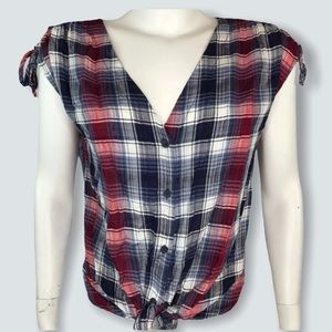 Knox Rose Plaid Tie-Front Top Shirt V-neck Button